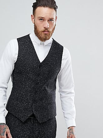 Heart & Dagger skinny suit vest in herringbone fleck tweed - Gray