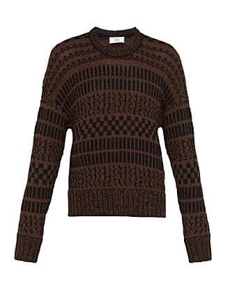 Ami Ami - Jacquard Knit Cotton Blend Sweater - Mens - Brown Multi
