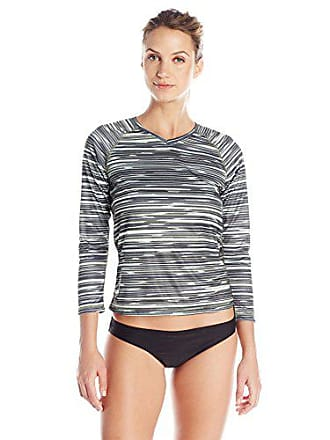 Kanu Surf Womens UPF 50+ Long Sleeve Active Swim Tee & Workout Top, Black/Grey, XX-Large