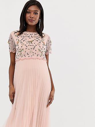 750b56bc86b19 Asos Maternity ASOS DESIGN Maternity embellished crop top midi skater dress  - Cream