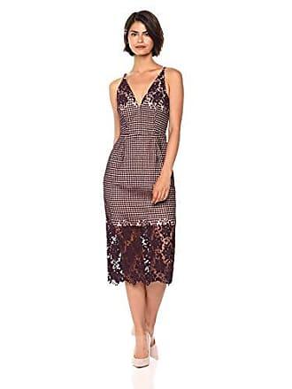Dress The Population Womens Aurora Lace Plunging Spaghetti Strap Midi Sheath Dress, Plum, l