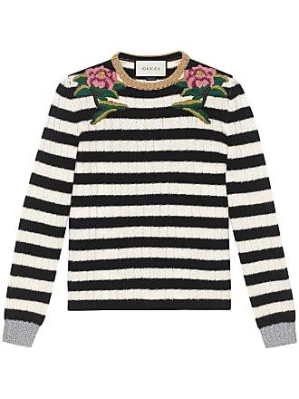 0bb9d989452 Gucci Embroidered merino cashmere knit top - Black