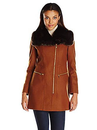 Via Spiga Womens Asymmetric Wool Coat with Oversized Faux Fur Collar, Cognac, 10