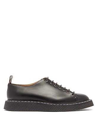 Jil Sander Topstitched Leather Derby Shoes - Mens - Black