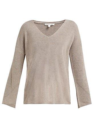 Skin Britta V Neck Cotton Blend Sweater - Womens - Beige