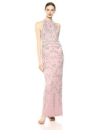 Adrianna Papell Womens Floral Beaded Halter Dress, Dusted Petal, 12