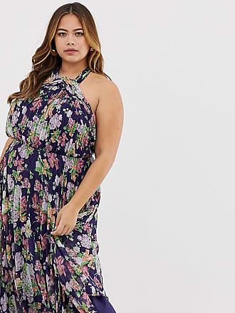 204c82d4871 Asos Curve ASOS DESIGN Curve pleated high neck midi dress in summer floral  print - Multi