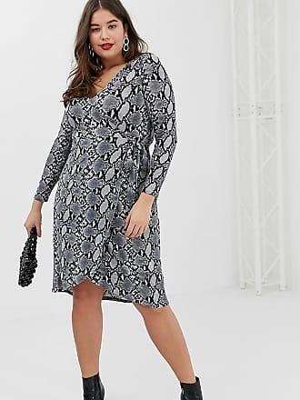 0534384ef4de New Look Plus New Look Curve wrap dress in snake print - Gray