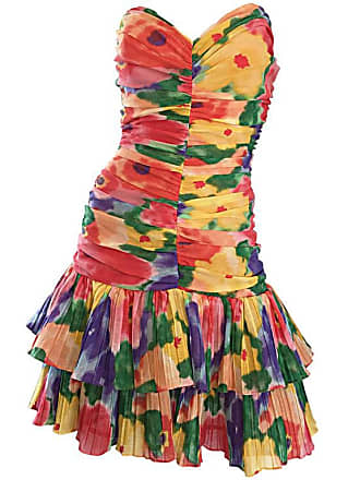 be5e0d561b7 1stdibs Amazing Vintage 1980s Watercolor Flower Print Strapless Ruched  Tiered Dress