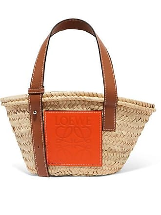 Loewe + Paulas Ibiza Small Leather-trimmed Raffia Tote - Beige