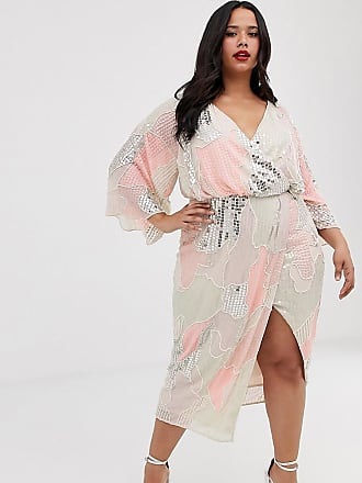 908bb6041856 Asos Curve ASOS DESIGN Curve midi kimono dress in pearl and sequin patched  embellishment