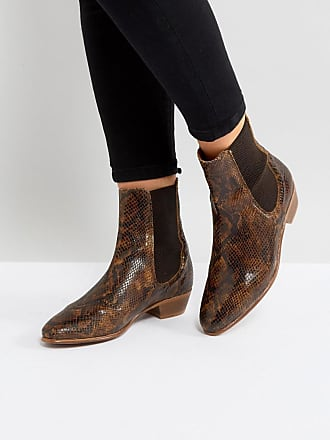 Hudson London Kenny Tan Snake Ankle Boots - Tan