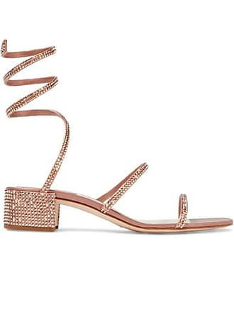 f4f5a2551fcea Rene Caovilla Cleo Crystal-embellished Satin Sandals - Antique rose