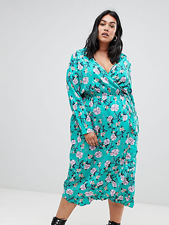 659b0bfd45 Influence Plus floral print wrap midi dress with ruffle
