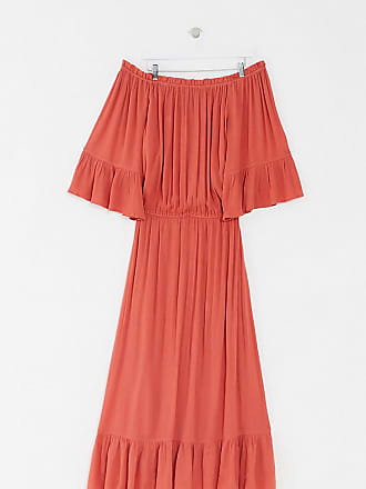 Asos Curve ASOS DESIGN Curve off shoulder maxi dress in texture dobby in rust-Red
