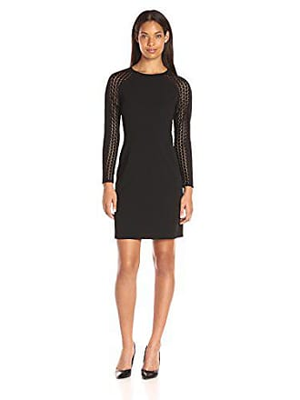 dfeec396 Donna Ricco Womens Long Sleeve Sheath Dress with Lace Detail, Black, 12