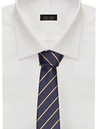 Fabio Farini dunkelblaue 8 cm Krawatte mit braunen Streifen passt zu fast jedem Anzug