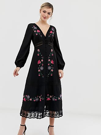 a7b3cd58694 Asos embroidered maxi dress with lace inserts - Black