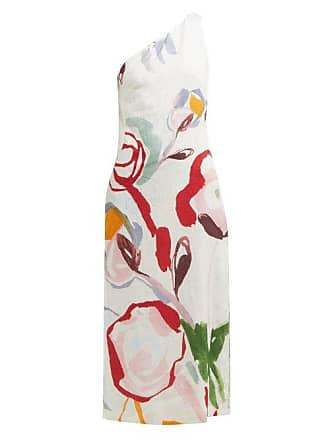 Cult Gaia Louise Abstract Print One Shoulder Linen Dress - Womens - White Print