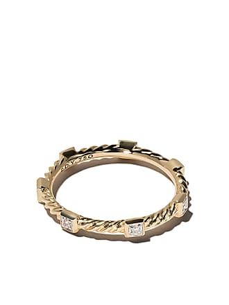 David Yurman 18kt yellow gold Cable Collectibles Cable diamond stack ring - 88Adi