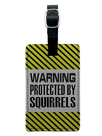 Graphics & More Graphics & More Warning Protected by Squirrels Leather Luggage Id Tag Suitcase Carry-on, Black