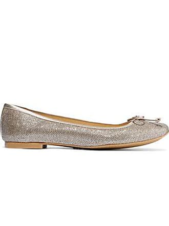 Stuart Weitzman Stuart Weitzman Woman Bow-embellished Glittered Woven Ballet Flats Rose Gold Size 36