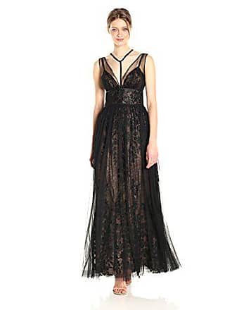 316a26e88b Vera Wang Womens Sleeveless Vneck Lace Gown with Overlay and Tie Neck  Detail