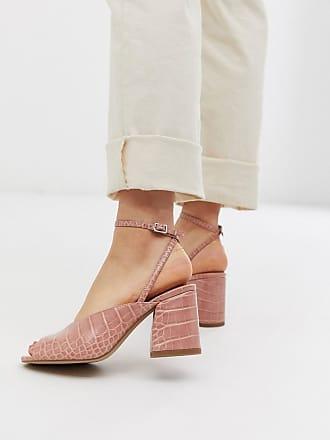 Asos Harmonica mid-heeled sandals in beige croc - Beige