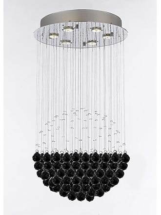 Gallery T22-2828 Modern 6 Light 18 Wide Crystal Chandelier with Black
