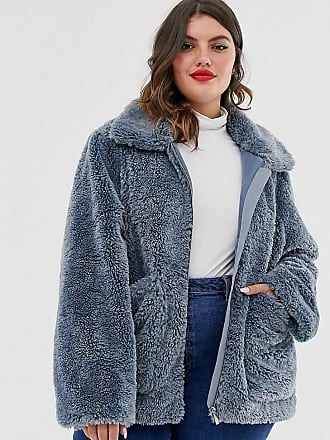 Urban Bliss zip through faux fur coat with deep cuffs-Blue