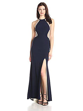 Xscape Womens Long ITY with Caviar Bead Back, Navy/Nude/Silver, 6