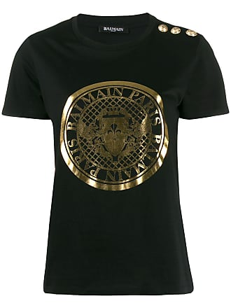 Balmain metallic emblem logo T-shirt - Black
