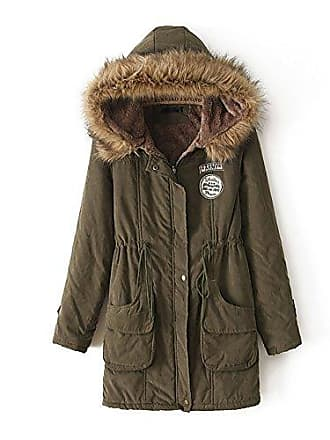 64ae00a3bacee Missmao Damen Winter Jacke Parka Mantel Schlank Warm Gefüttert mit Fake Pelz  Kapuze Armeegrün L
