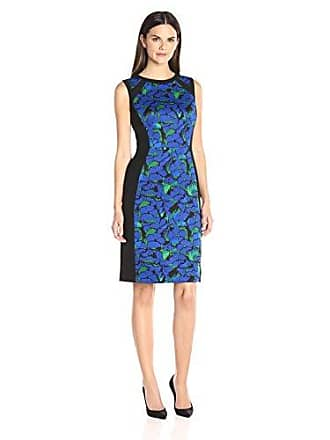 Kasper Womens Floral Printed Scuba Dress, Celeste Multi, 6