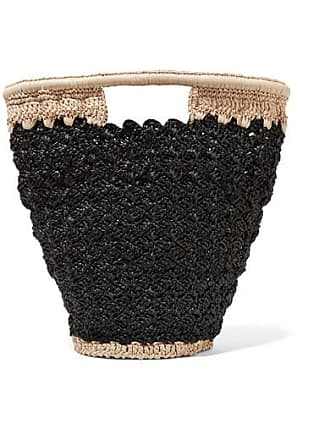 Carrie Forbes Lily Woven Faux Raffia Bucket Bag - Black