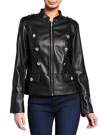 Iconic American Designer Faux-Leather Button Biker Jacket