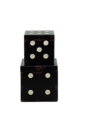 UMA Enterprises Inc. Deco 79 Wood Dice Box, 9 by 7-Inch, Set of 2