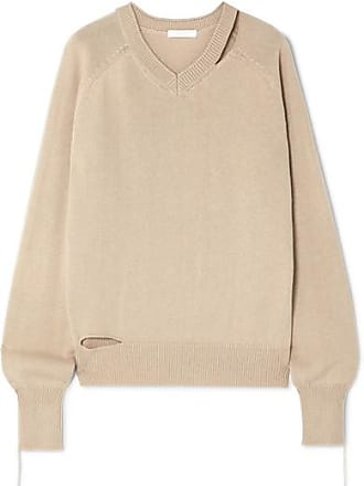Helmut Lang Distressed Cutout Cotton, Wool And Cashmere-blend Sweater - Beige