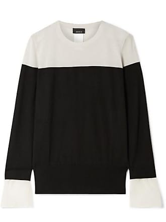 56f20112f13e80 Akris Two-tone Crepe-trimmed Cashmere And Mulberry Silk-blend Sweater -  Black