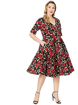 beb6af6840 Unique Vintage Plus Size 1950s Delores Swing Dress with Sleeves (Black Red  Roses Print