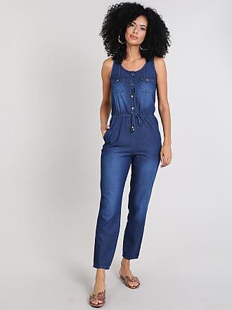 C&A Macacão Jeans Feminino com Botões e Bolsos Azul Médio