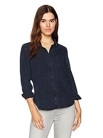 Calvin Klein Jeans Womens Long Sleeve Denim Button Down Shirt, Arctic Inky Indigo, Medium