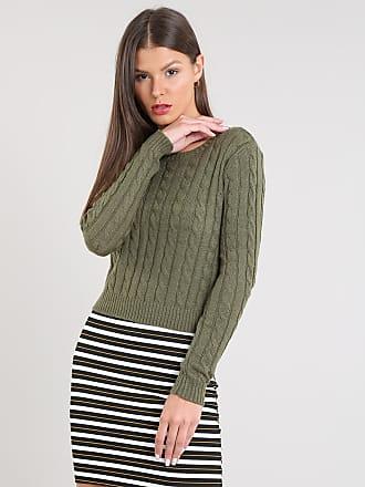 Basics Suéter Feminino Básico Cropped em Tricô Verde Militar