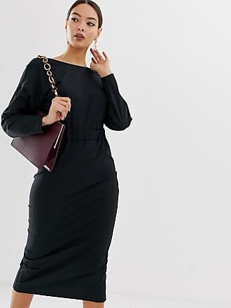 Asos rib wrap back midi pencil dress - Black