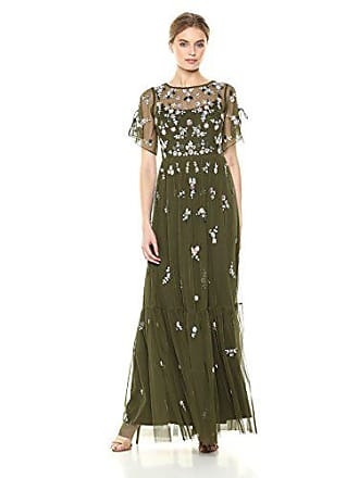 Adrianna Papell Womens Ruffle Split Sleeve Beaded mesh Long Ballgown, Olive, 8