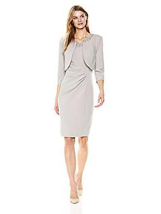 Jessica Howard Womens Beaded Jacket Dress, Platinum, 16