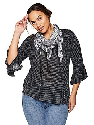 Oneworld Womens Plus Size 3/4 Sleeve Stripe Top with Tassel Scarf, Black, 1X