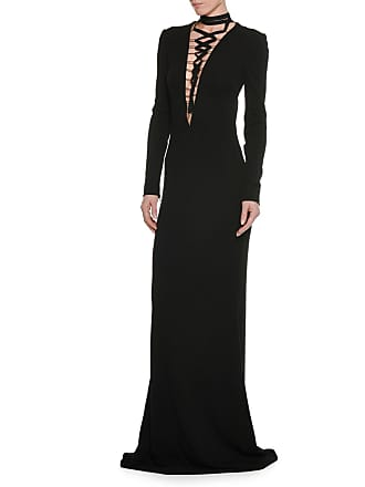 d261f055 Tom Ford Deep-V Lace-Up Long-Sleeve Viscose Jersey Evening Gown