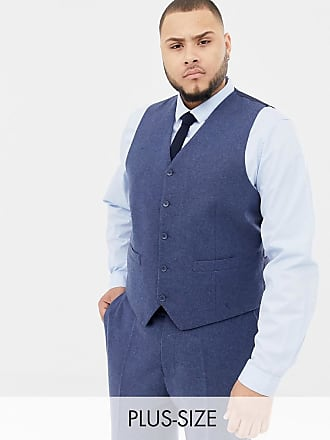 Gianni Feraud Plus slim fit wool blend heritage donnegal suit vest - Navy
