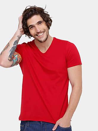 KOHMAR Camiseta Básica Masculina Gola V 100% Algodão kohmar- Vermelha